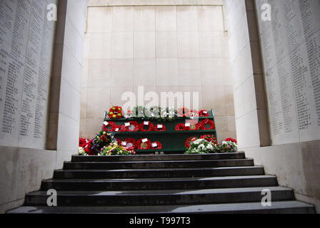 Flowers laid at the Menin Gate in Ypres, Belgium - Stock Photo