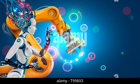 Artificial Intelligence works automation industry factory with smart robotic arms. Robot or cyborg woman with ai control industrial manufacturing via - Stock Photo