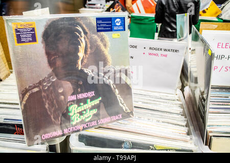 Nadarzyn, Poland, May 11, 2019: James Marshall 'Jimi' Hendrix vinyl album on display for sale, Vinyl, LP, Album, Pop Rock, collection of Vinyl in back - Stock Photo
