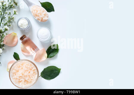 skin care concept. flat lays of skincare remedies style in package with blank label with natural materials isolated on white background with copy spac - Stock Photo
