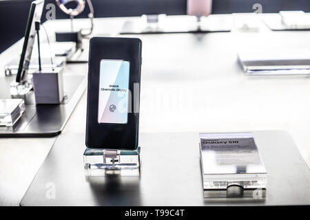Nadarzyn, Poland, May 11, 2019: Samsung Galaxy S10 smartphone, presentation of Samsung S10 at exhibition showroom, stand at Warsaw Electronics Show, - Stock Photo