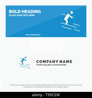 Activity, Ski, Skiing, Sportsman SOlid Icon Website Banner and Business Logo Template - Stock Photo