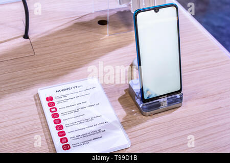 Nadarzyn, Poland, May 11, 2019: Huawei Y7 smartphone, presentation of Y7 2019 at Huawei exhibition showroom stand at Warsaw Electronics Show - Stock Photo