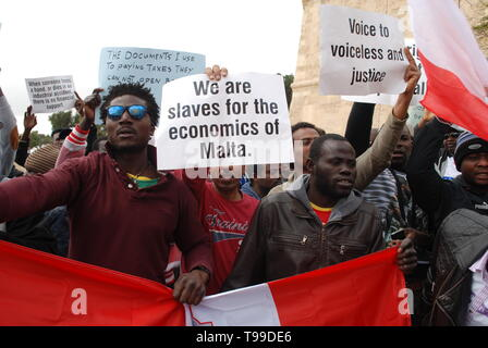African migrants living and working in Malta complain of being used as slave labour in its thriving economy and its building boom in particular. - Stock Photo