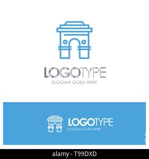 Culture, Global, Hinduism, India, Indian, Srilanka, Temple Blue Outline Logo Place for Tagline - Stock Photo