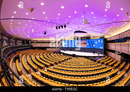 The hemicycle interior or eu parliament chamber, plenary chamber, gallery of the European Parliament building Brussels Belgium Eu Europe - Stock Photo
