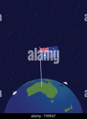 Australia on the globe of planet Earth, a view from space. The Flag Of Australia, Poster. - Stock Photo