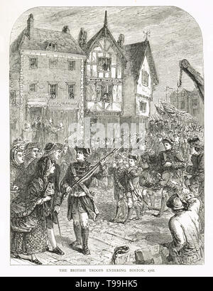 British soldiers entering Boston in 1768 - Stock Photo