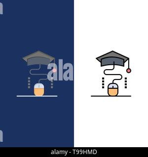 Mouse, Graduation, Online, Education  Icons. Flat and Line Filled Icon Set Vector Blue Background - Stock Photo