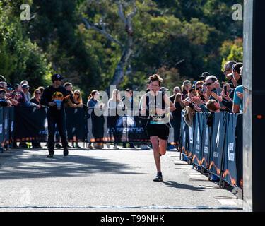 Blue Mountains, Australia - April 16 2019: Ultra-Trail Australia UTA11 race. Runner Capser Larkin at the finish line. - Stock Photo