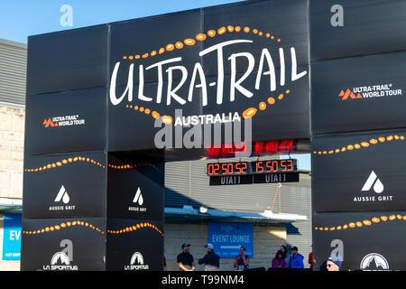 Blue Mountains, Australia - April 16 2019: Ultra-Trail Australia UTA11 race. Finish Line. - Stock Photo