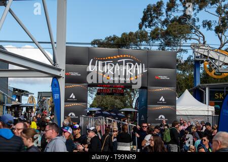 Blue Mountains, Australia - April 16 2019: Ultra-Trail Australia UTA11 race. Crowds at finish line. - Stock Photo