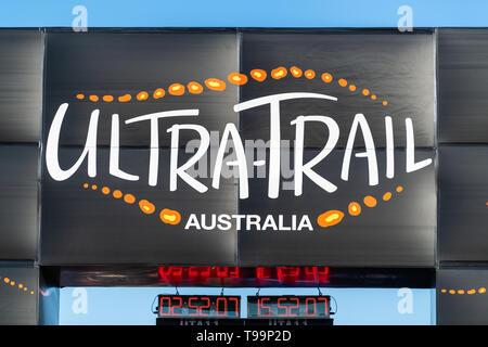 Blue Mountains, Australia - April 16 2019: Ultra-Trail Australia UTA11 race. Finish line and race clock. - Stock Photo