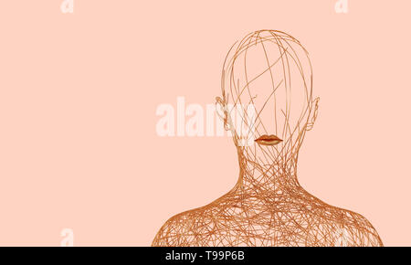 Silhouette Of Woman Consisting Of Tangled Golden Wires On Pink Background. 3D Illustration. - Stock Photo