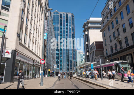 The tramline running along Bull Street in Birmingham city centre, UK - Stock Photo