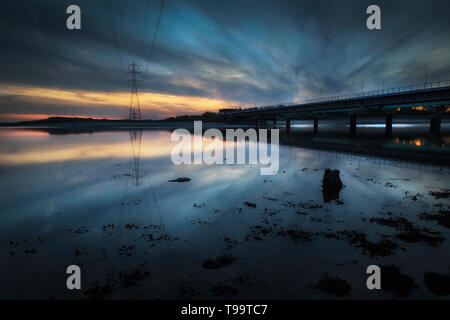 Loughor estuary rail bridge - Stock Photo