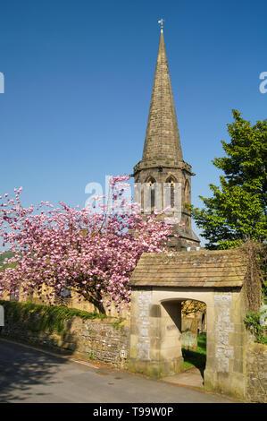 UK,Derbyshire,Peak District,Bakewell,All Saints Church - Stock Photo