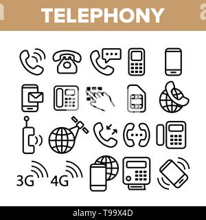 Global Telephony System Linear Vector Icons Set  Telephony, Mobile