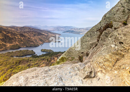 Panorama View from Ben A'an in the Highlands of Scotland - Stock Photo