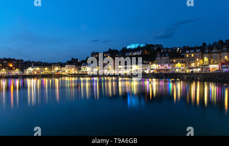 Scenic View over Oban in Scotland at Night - Stock Photo