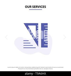 Our Services Education, Geometrical, Tools Solid Glyph Icon Web card Template - Stock Photo