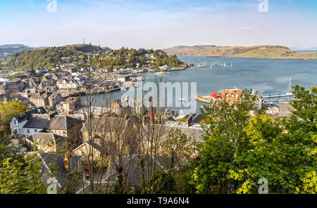 Panorama View over Oban in Scotland from McCaig's Tower - Stock Photo