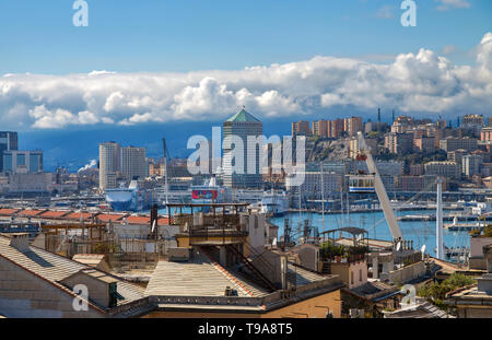 GENOA, ITALY, MARCH 22, 2019 - Genoa landscape from the old city to the 'Porto Antico', (Ancient Port) and the skyline, Genoa, Italy. - Stock Photo
