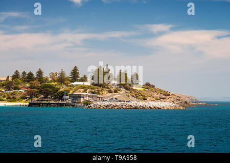 Penneshaw, South Australia - January 14, 2019: SeaLink Ferry Terminal with pier viewed from ferry arriving at Kangaroo Island on a summer day - Stock Photo