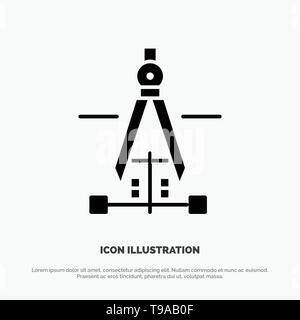 Compass, Drawing, Education, Engineering Solid Black Glyph Icon - Stock Photo