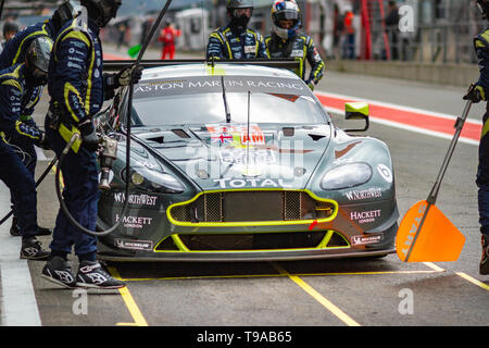 actionAston Martin Racing GTE Am car pit stop, Friday practice WEC Total 6 Hours of Spa-Francorchamps 2019 - Stock Photo