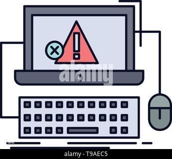 Computer, crash, error, failure, system Flat Color Icon Vector - Stock Photo