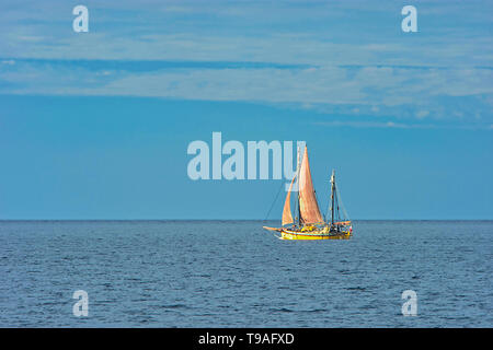 Sailboat on Gulf of St. Lawrence Gaspe Peninsula Quebec Canada - Stock Photo