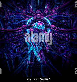 Guardian of the temple / 3D illustration of science fiction scene showing evil skull faced astronaut space soldier with laser pulse rifle - Stock Photo