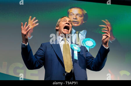 Edinburgh, Scotland, UK. 17th May, 2019. Nigel Farage in Edinburgh for a rally with the Brexit Party's European election candidates. Held at the Corn Exchange in the city. Credit: Iain Masterton/Alamy Live News - Stock Photo