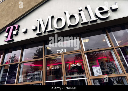 February 14, 2019 - Los Angeles, CA, United States - A T-Mobile store seen in Los Angeles. (Credit Image: © Ronen Tivony/SOPA Images via ZUMA Wire) - Stock Photo