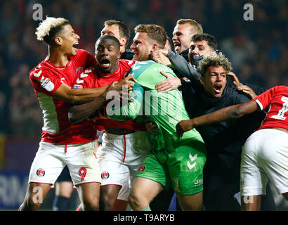 London, UK. 17th May, 2019. LONDON, UINTED KINGDOM. 17 May, 2019 during Sky Bet League One Play-Offs 2nd Leg match between Charlton Athletic and Doncaster Rovers at The Valley stadium, London on 17 May 2019 Credit: Action Foto Sport/Alamy Live News - Stock Photo