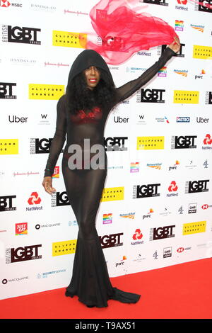 London, UK. 17th May, 2019. Sinitta arrives on the red carpet at the British LGBT Awards at the London Marriott Hotel Grosvenor Square Credit: SOPA Images Limited/Alamy Live News - Stock Photo