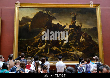 Beijing, France. 15th May, 2019. People view oil painting 'the Raft of the Medusa' by Theodore Gericault at the Louvre Museum in Paris, France, May 15, 2019. Credit: Alexandre Karmen/Xinhua/Alamy Live News - Stock Photo
