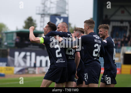 Dens Park, Dundee, UK. 18th May, 2019. Ladbrokes Premiership football, Dundee versus St Mirren; Cammy Kerr of Dundee is congratulated after scoring for 1-0 in the 14th minute Credit: Action Plus Sports/Alamy Live News Credit: Action Plus Sports Images/Alamy Live News - Stock Photo