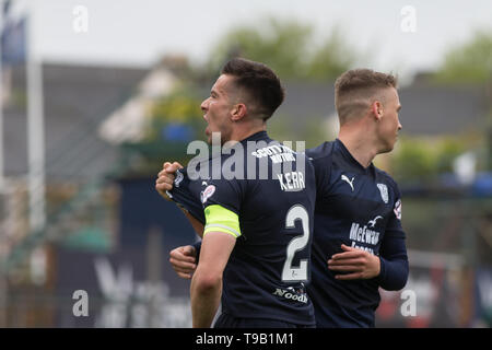 Dens Park, Dundee, UK. 18th May, 2019. Ladbrokes Premiership football, Dundee versus St Mirren; Cammy Kerr of Dundee is congratulated by Andrew Nelson after scoring for 1-0 in the 14th minute Credit: Action Plus Sports/Alamy Live News Credit: Action Plus Sports Images/Alamy Live News - Stock Photo