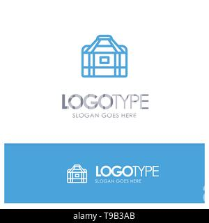 Bag, Equipment, Gym, Sports Blue outLine Logo with place for tagline - Stock Photo