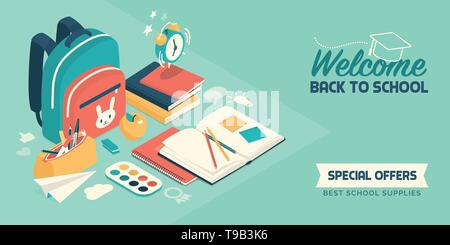 Back to school banner with isometric educational supplies and school items: creativity, education and childhood concept - Stock Photo
