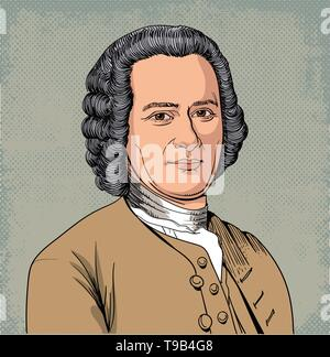 Jean Jacques Rousseau portrait in line art illustration. He was a philosopher, writer, and composer. - Stock Photo