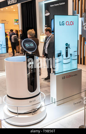 Berlin, Germany, August 31, 2018, LG CLOi ThinQ AI Bot smart robot artificial intelligence on display, LG exhibition at Global Innovations Show IFA - Stock Photo