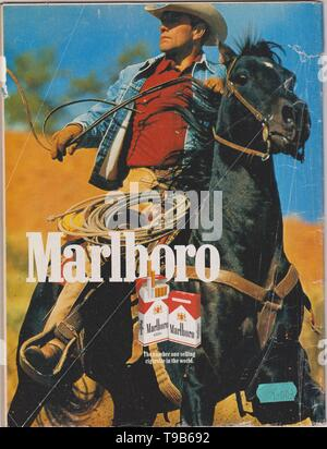 poster advertising Marlboro cigarettes, magazine from 1992, The number one selling cigarette in the world slogan, creative Marlboro advert from 1990s - Stock Photo