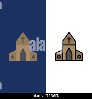 Church, House, Easter, Cross  Icons. Flat and Line Filled Icon Set Vector Blue Background - Stock Photo