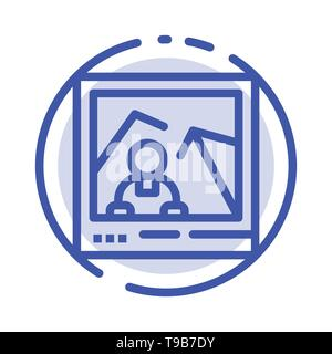 Picture, Image, Landmark, Photo Blue Dotted Line Line Icon - Stock Photo