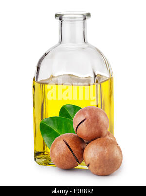 Macadamia oil in bottle and nuts with leaves - Stock Photo