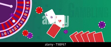 Vector illustration or cover for a site about gambling. Chips, roulette wheel, cards, dices on the background of the table with green cloth - Stock Photo