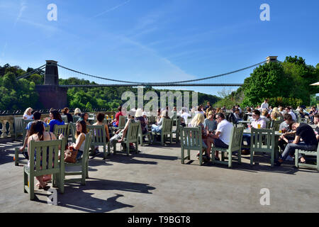 View of Bristol suspension bridge from terrace bar at White Lion pub in Avon Gorge Hotel, UK - Stock Photo
